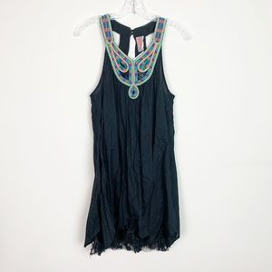 Free People | embroidered lace trim slip dress XS